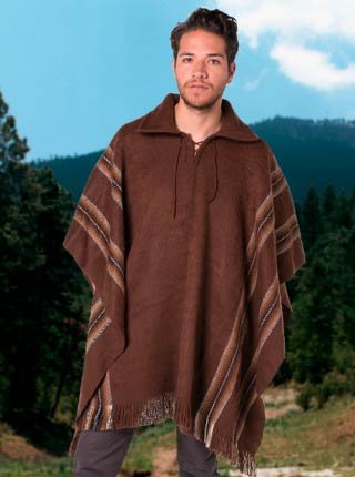 Brown Alpaca Poncho - Shirt V neck