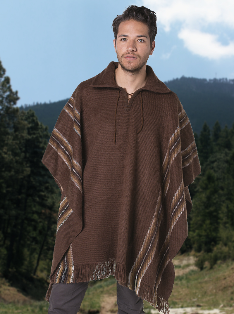 c2cfeaf93 Brown Alpaca Poncho - Shirt V neck - Alpaca Mall