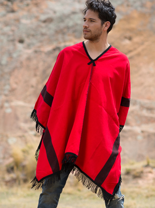 Red Cotton Poncho