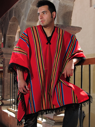 Red Poncho with Multicolored Stripes