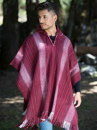 Hooded Burgundy Poncho