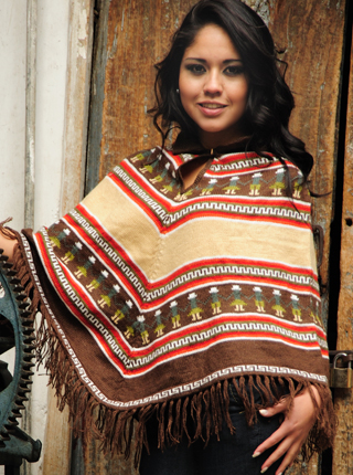 Brown Alpaca Poncho - People Figures