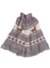 Light Gray Alpaca Poncho  - Kids age 8