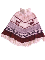 Gray and White Alpaca Poncho  - Kids age 8