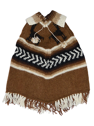Brown and White  Alpaca Poncho  - Kids 2 to 3 Years