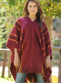 Striped Burgundy Poncho