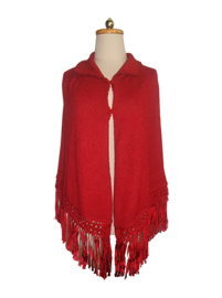 Red Baby Alpaca Poncho with Macrame Decoration