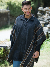 Charcoal Alpaca Poncho - Shirt V neck