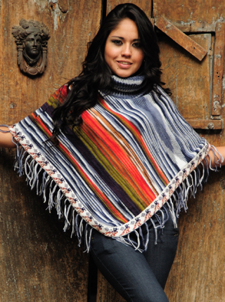 Striped Alpaca Poncho