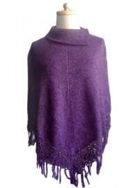 Poncho with Macrame Flowers