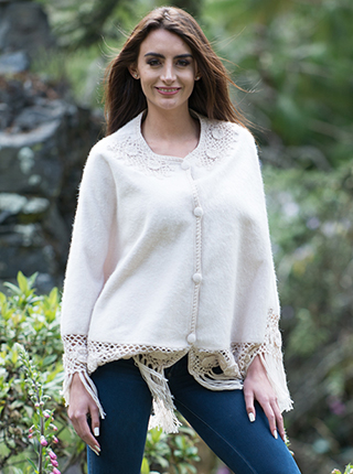 Alpaca Poncho with Buttons