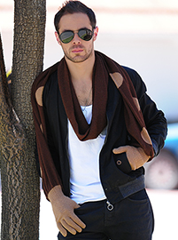 Scarf and Gloves Men - Brown
