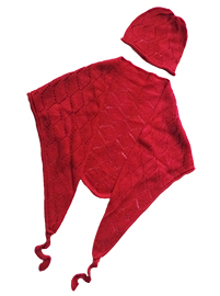 Triangle Scarf and Hat (4 years) - Red