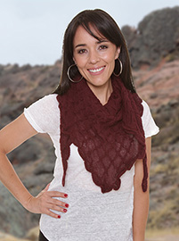 Alpaca Shawl Triangle Burgundy - Rhombus