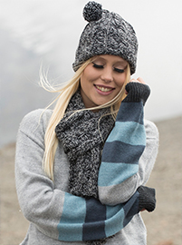 Gray Set Alpaca Scarf and Hat - Curves