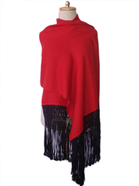 Red Shawl with Silk Macrame Fringes