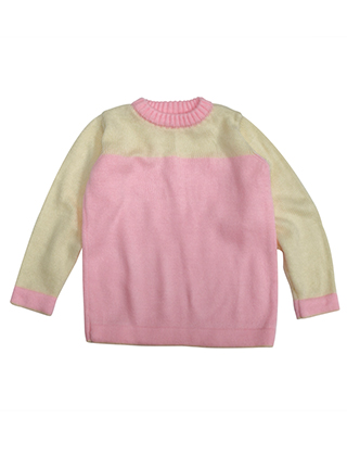 Sweater with yellow sleeves and pink chest