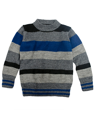 Sweater in black, gray and blue tones.