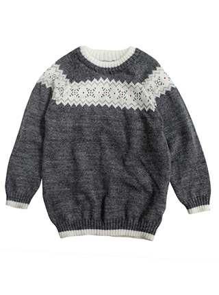 Gray sweater with white diamond-shaped design