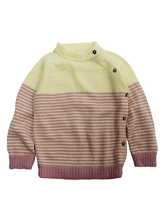 Yellow sweater with pink lines
