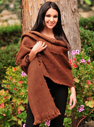 Alpaca Shawl - Natural Brown