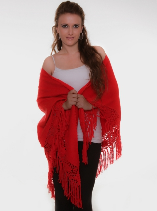 Red Shawl - Macrame Details