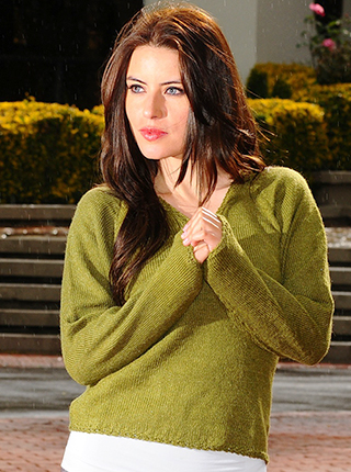 V Neck Green Alpaca Sweater