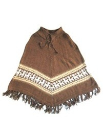 Brown Alpaca Poncho for Kids (Ages 4 - 6)