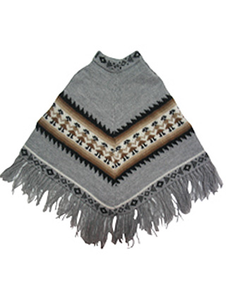 Gray Alpaca Poncho for Kids (Ages 4 - 6)
