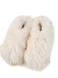 White Alpaca Slippers for Kids (Ages 7 - 10)
