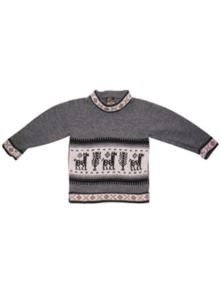 Gray Sweater with Llamas for Kids<br>Ages: 2-3