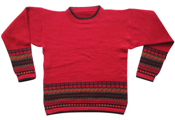 Plain Style Red Sweater for KidsAge: 9 - 10 - Alpaca Mall