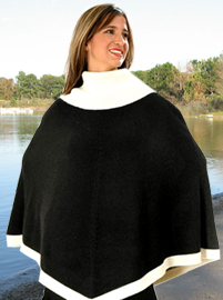 Ribbed Neck Poncho