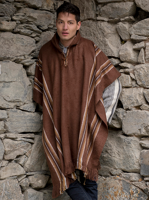 Brown Poncho With Light Brown Lines Alpaca Mall