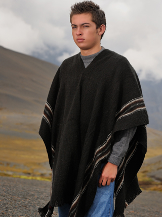 Black poncho with brown lines