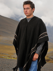 Charcoal poncho with brown lines