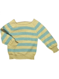 Striped Alpaca Sweater - Light Blue and Beige