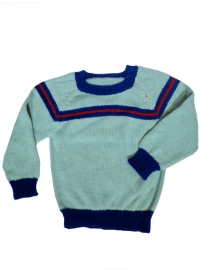 Light Blue Alpaca Sweater with Blue Details