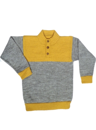 Alpaca Sweater - Gray and Yellow