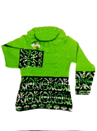 Alpaca Sweater for Girls - Green