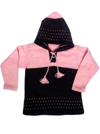 Alpaca Sweater with Hood - Purple and Pink