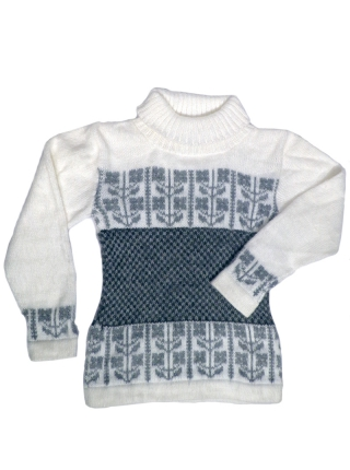 High-neck Alpaca Sweater - Grey and White