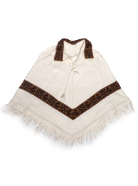 Alpaca Poncho - White with Brown Details