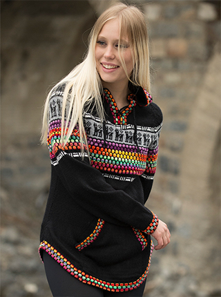 Black hooded sweater with colorful pattern on the chest