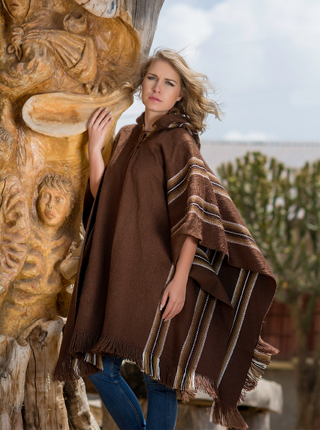 Hooded Rustic Poncho - Brown