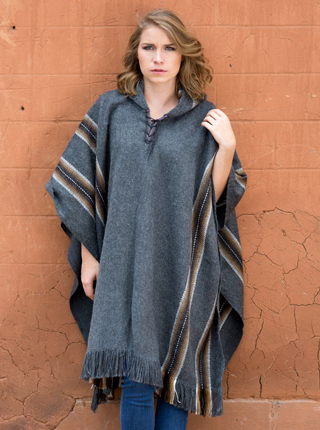 Hooded Rustic Poncho - Gray