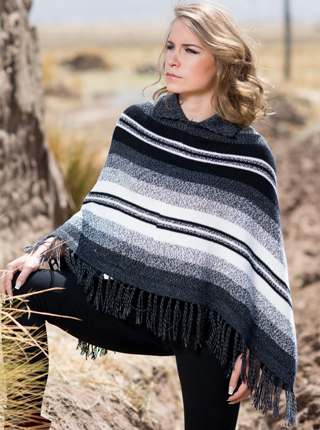 Striped Poncho - Black and White