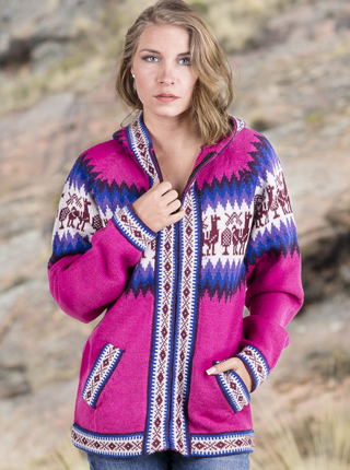 Pink Andean Alpaca Zip Sweater