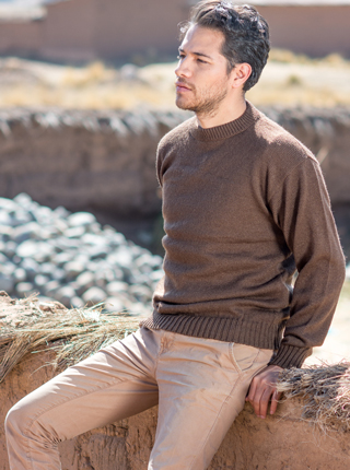 Alpaca Sweater for Men - Brown