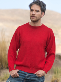 Alpaca Sweater for Men - Red